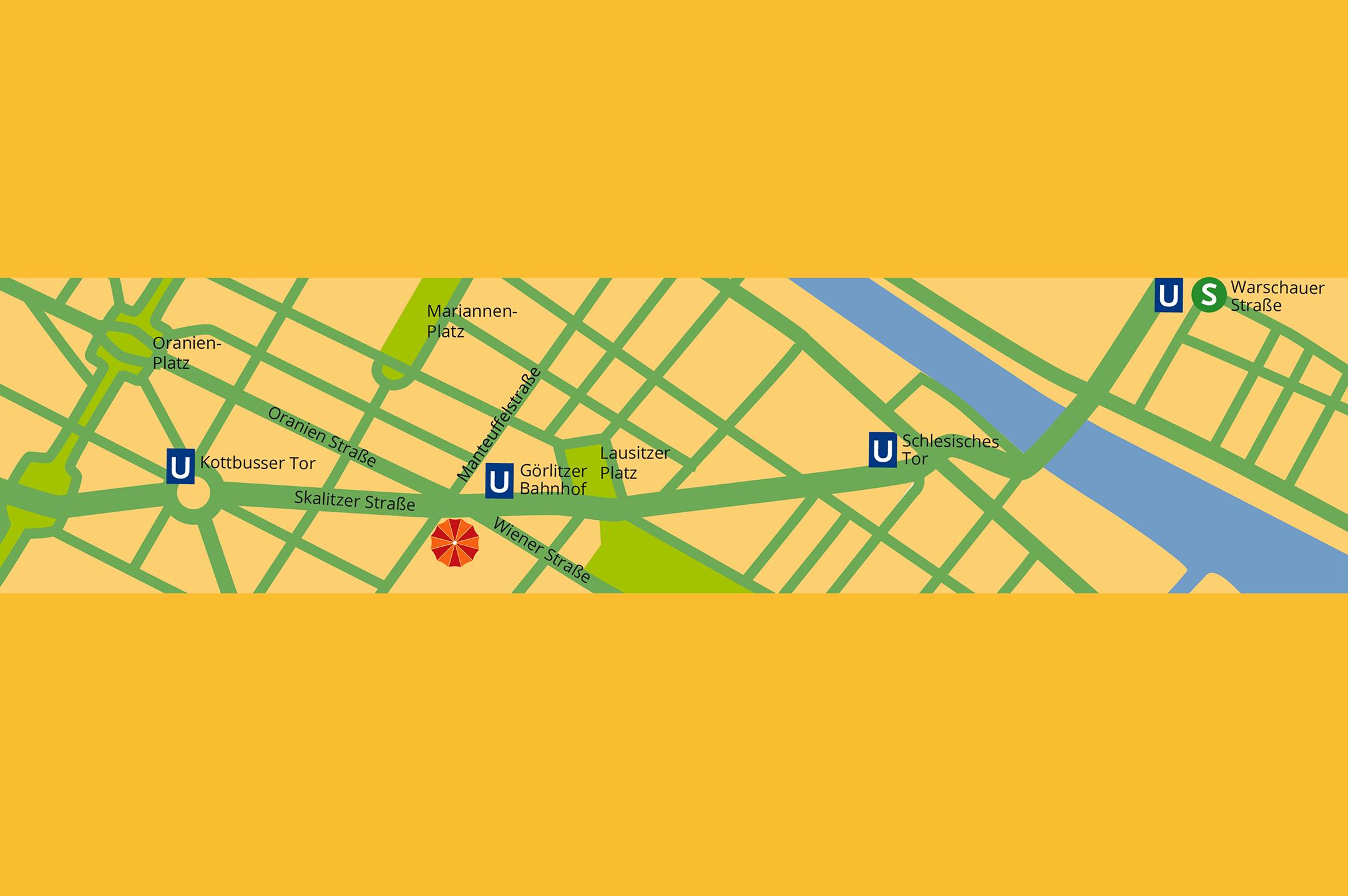 Bild Stadtplan und Zufahrt für Restaurant Miss Saigon in Berlin Kreuzberg, Friedrichshain